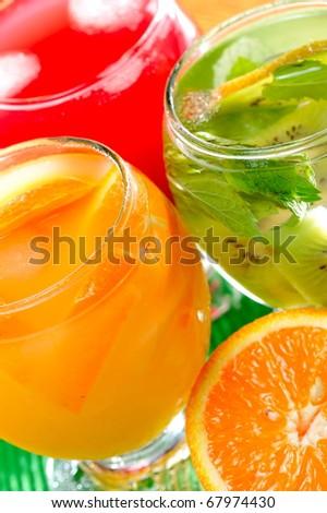 various fruit juice and tea