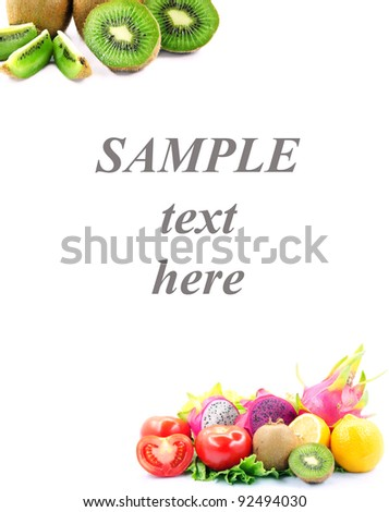 Various fruit on frame with sample text here at center line.