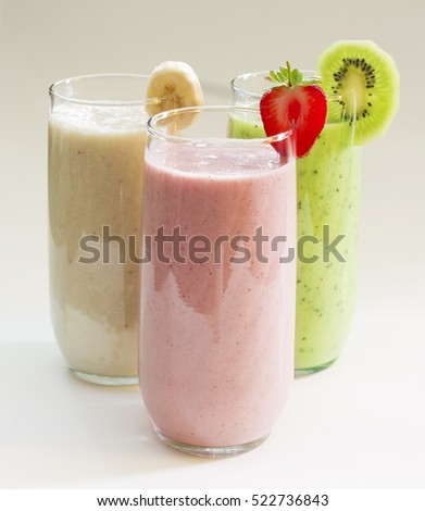 Various fruit smoothies : kiwi, banana, strawberries