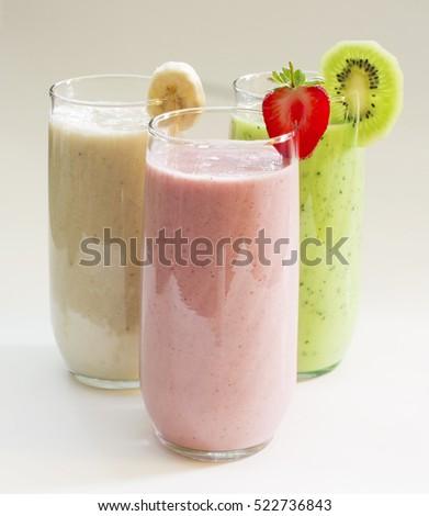 Various fruit smoothies : kiwi, banana, strawberries