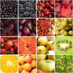 Various fruits and berries backgrounds collage from sixteen photos