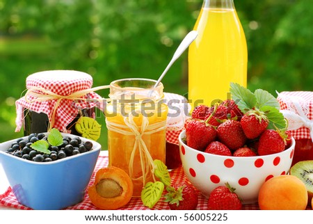 various fruits preserves in jars and fresh fruits on garden table