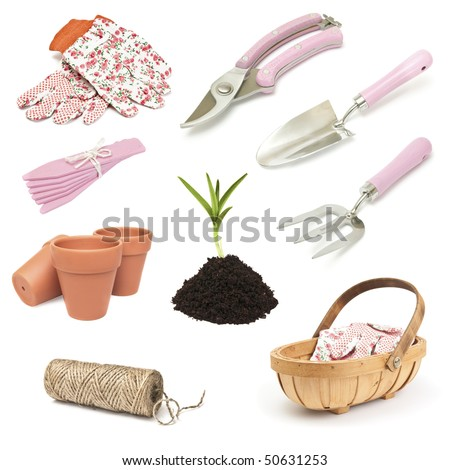 Various gardening implement for spring planting on white background