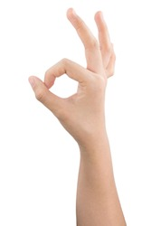 various gestures and sign of Woman's hand isolated on white background with clipping path.