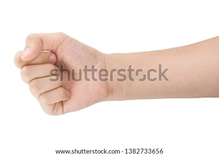 various gestures and sign of Woman's hand isolated on white background with clipping path. #1382733656