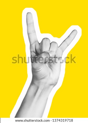 Various gestures of female fingers. Magazine collage. On a yellow background are trendy images. Woman hand making sign.  magazine style collage wit. #1374319718