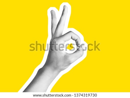 Various gestures of female fingers. Magazine collage. On a yellow background are trendy images. Woman hand making sign.  magazine style collage wit. #1374319730