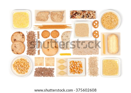 various gluten free grains and food on white background with copy space top view. gluten free flat lay concept