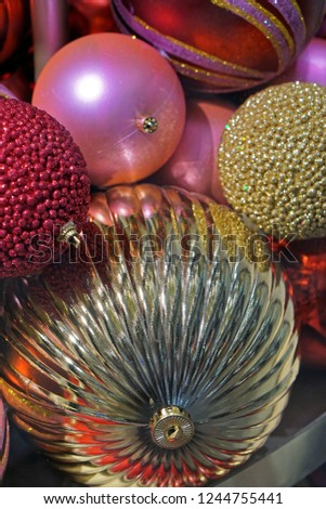 Various gold and pink Christmas baubles decoration #1244755441