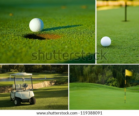 Various golf image collage of white golf ball on putting green next to hole, golf cart and flag