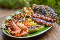 various grilled filipino favorites dish