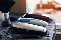 Various hair clippers in the barber shop,Electric hair clipper.Hair cutting tools
