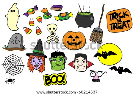 Various Halloween elements and icons - RASTER