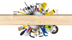 various hand working tools and buzz saw blade behind wooden plank with copy space isolated on white background. DIY hardware store equipment so it youself work concept.