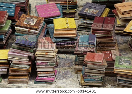 various handmade books at the market in Mumbai, India.