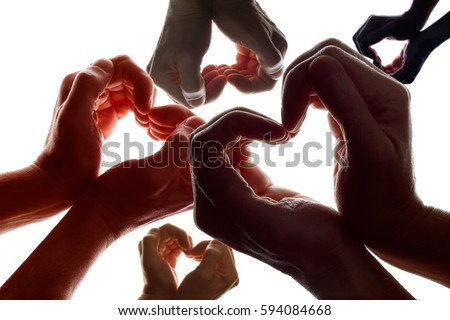 Various hands forming a symbol of love and peace. Foto d'archivio ©