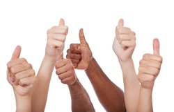 Various hands showing thumbs up. All on white background.