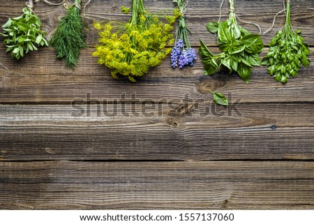 Various herbs from the garden on wooden table. Fresh herb, top view, flat lay