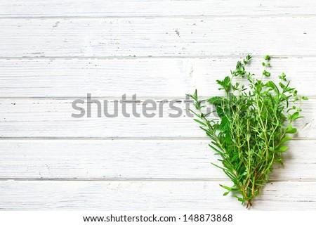 various herbs on kitchen table