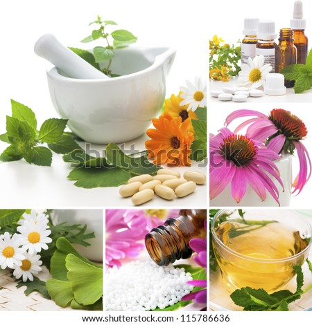 Various homeopathy related images in a collage