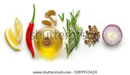 various ingredients for making marinade isolated on white background, top view #1089953624