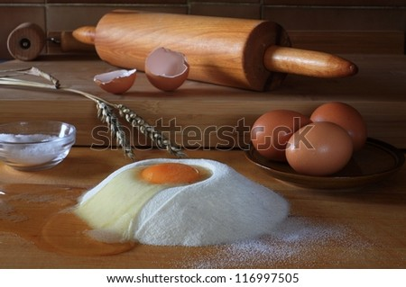 Various ingredients  mainly for pastry preparing