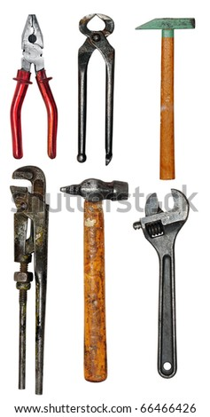 Various isolated tools, isolated on a white background
