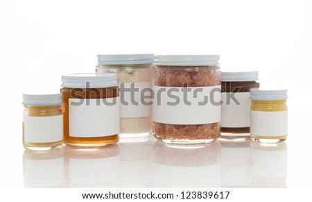 Various Jars of Handmade Bath Products, Salts, Scrubs, Butters and Solutions