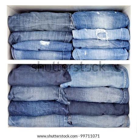 various jeans in shelves