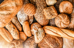 Various kind of bread with wheat top view. White bakery food concept panorama or wide banner photo.