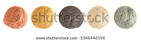 Various kinds of cosmetic clay on the white background #1048446196