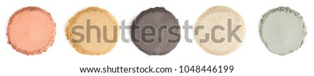 Various kinds of cosmetic clay on the white background #1048446199
