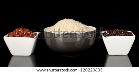 Various kinds of rice isolated on black