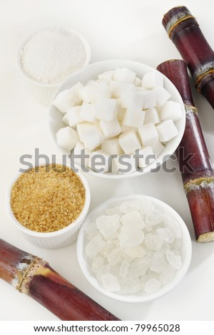 Various kinds of sugar on white