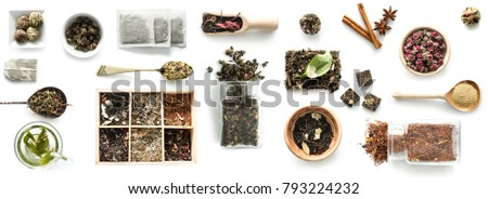 Various kinds of tea, spoons and rustic dishware, brewed green tea, cinnamon #793224232