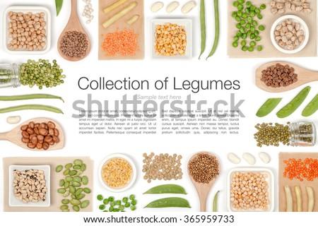 various legumes on white...