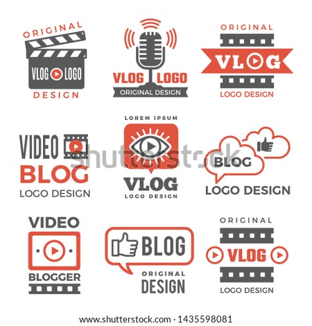 Various logotypes for tv channels and vloggers. Vlog video logo, vlogging club, channel vlogger logotype, illustration