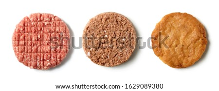 various meat and meat free plant based burgers isolated on white background, top view