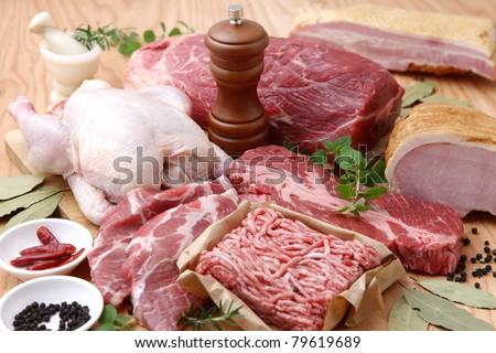 Various Meats - stock photo