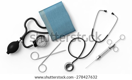 Various medical equipment isolated on white background