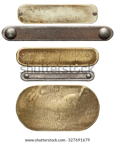 Various metal plates and textures, isolated on white background