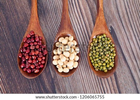 Various miscellaneous grains in three spoons #1206065755