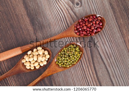 Various miscellaneous grains in three spoons #1206065770