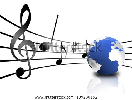 Various musical notes on stave near a planet - stock photo