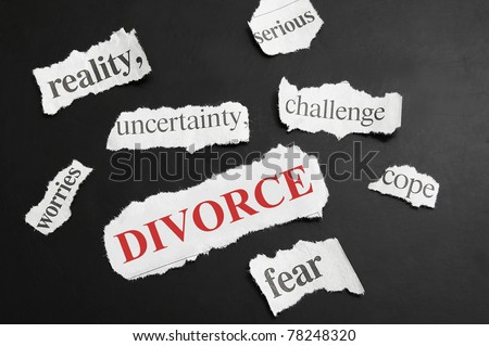 Various newspaper headlines with Divorce in red