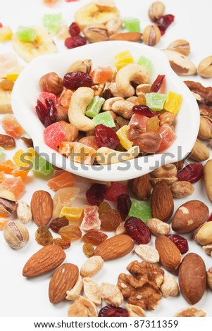 Various nuts and dried fruit over white background