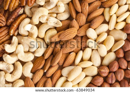various nuts on background