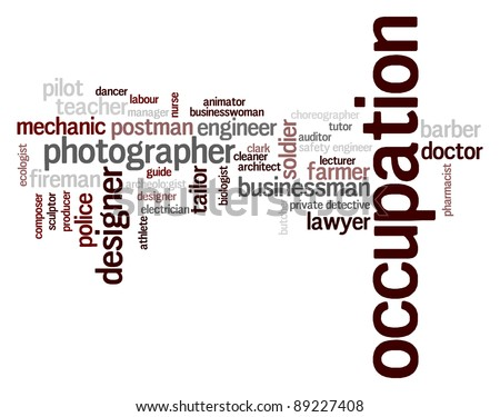 various occupation  info-text graphics and arrangement concept on white background (word clouds)