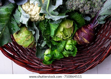 Various of Cabbage Broccoli Cauliflower. Assorted of Cabbages in Basket #750864511