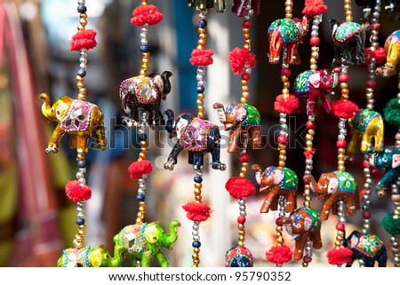 Various of decorative elephants from wood in different colors in Mattancherry Market in Kochi, Kerala, India